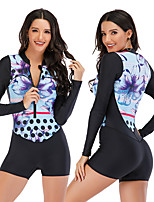 cheap -Women's Rash Guard Dive Skin Suit One Piece Swimsuit Elastane Swimwear Breathable Quick Dry Long Sleeve Front Zip - Swimming Surfing Water Sports Painting Autumn / Fall Spring Summer
