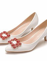 cheap -Women's Wedding Shoes Pumps Pointed Toe Business Sexy Minimalism Wedding Party & Evening PU Rhinestone Sparkling Glitter Button Solid Colored White Red
