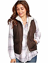cheap -◕。Vest Coat Women's Warm Plush Autumn Winter Sleeveless Reversible Wear Lightweight Zip up Vest Reversible Vest Coffee