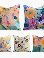 cheap -Cushion Cover 5PC Linen Soft Decorative Square Throw Pillow Cover Cushion Case Pillowcase for Sofa Bedroom 45 x 45 cm (18 x 18 Inch) Superior Quality Machine Washable Lotus Colorful