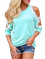 cheap -Women Off Shoulder Lace Top Long Sleeve Blouse Ladies Casual Tops Shirt (L, Pink)