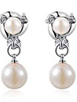 cheap -Women's Freshwater Pearl Clip On Earrings Charm Silver/Gold Plated Sparkling Crystal Earrings with Micro Pave Zircon (Platinum Plated)
