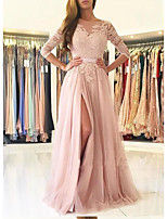 cheap -A-Line Beautiful Back Sexy Engagement Formal Evening Dress Illusion Neck Half Sleeve Sweep / Brush Train Tulle with Sash / Ribbon Split Appliques 2020