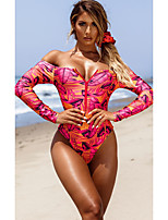 cheap -Women's New Colorful Sexy Rash Guard Swimsuit Tropical Leaf Zipper Print Bodysuit Normal Off Shoulder Swimwear Bathing Suits Blushing Pink / One Piece