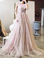 cheap -A-Line Glittering Floral Engagement Formal Evening Dress Illusion Neck Sleeveless Sweep / Brush Train Tulle with Pleats Lace Insert 2020