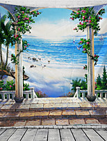 cheap -Window Landscape Wall Tapestry Art Decor Blanket Curtain Hanging Home Bedroom Living Room Decoration Sea Ocean Beach Coconut