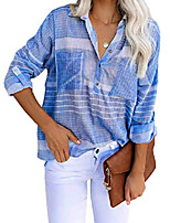 cheap -women long sleeve collared button down striped shirt tops blue medium