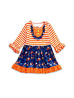 cheap -Boutique Orange/Dark Blue Floral Ruffle with Front Button Girls Dress (S(3T))