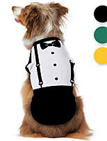 cheap -Dog Shirt / T-Shirt Tuxedo Graphic Optical Illusion 3D Print Classic Gentle Wedding Party Dog Clothes Puppy Clothes Dog Outfits Breathable Black Yellow Green Costume for Girl and Boy Dog Polyster S M