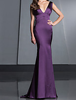 cheap -Mermaid / Trumpet Beautiful Back Sexy Wedding Guest Formal Evening Dress V Neck Sleeveless Sweep / Brush Train Satin with Bow(s) 2021