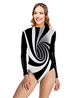 cheap -Women's New Vacation Fashion One Piece Swimsuit Color Block 3D Tummy Control Print Bodysuit Normal High Neck Swimwear Bathing Suits Black / Party