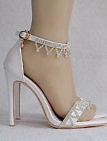 cheap -Women's Wedding Shoes Pumps Open Toe Business Sexy Minimalism Wedding Party & Evening PU Sparkling Glitter Buckle Tassel Solid Colored White