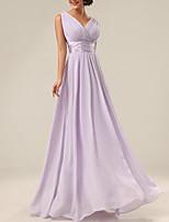 cheap -A-Line Minimalist Elegant Wedding Guest Formal Evening Dress V Neck Sleeveless Floor Length Chiffon with Sash / Ribbon Pleats 2020