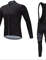 cheap -Men's Long Sleeve Cycling Jersey with Bib Tights Cycling Jersey with Tights Winter Elastane Black Bike Sports Clothing Apparel
