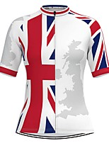 cheap -Women's Short Sleeve Cycling Jersey White National Flag Bike Top Mountain Bike MTB Road Bike Cycling Breathable Quick Dry Sports Clothing Apparel / Stretchy / Athleisure