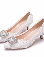 cheap -Women's Wedding Shoes Pumps Pointed Toe Business Sexy Minimalism Wedding Party & Evening PU Pearl Sparkling Glitter Button Solid Colored Color Block White