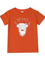 cheap -Kids Daddy'slittlegirl Boys' Active Basic Letter Animal Print Short Sleeve Tee Orange