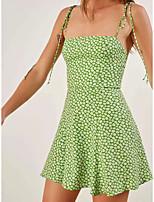 cheap -A-Line Sexy Boho Graduation Party Wear Dress Spaghetti Strap Sleeveless Short / Mini Spandex with Pleats Pattern / Print 2021