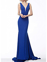 cheap -Mermaid / Trumpet Glittering Sexy Engagement Formal Evening Dress V Neck Sleeveless Sweep / Brush Train Sequined with Pleats 2020