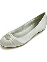 cheap -Women's Wedding Shoes Flat Heel Round Toe Classic Sweet Wedding Party & Evening Satin Rhinestone Solid Colored White Black Purple