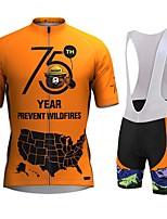 cheap -21Grams Men's Short Sleeve Cycling Jersey with Bib Shorts Orange Bike Breathable Sports Graphic Mountain Bike MTB Road Bike Cycling Clothing Apparel / Stretchy / Athleisure