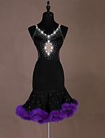 cheap -Latin Dance Dress Glitter Tassel Crystals / Rhinestones Women's Training Performance Sleeveless Natural Elastane Feather