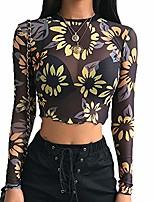cheap -Womens Sexy Black Shirt Long Sleeve Angel Print Mesh Top Sheer See Through Blouse Crop Tops for Women (M, Yellow Flowers)