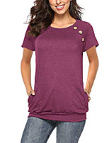 cheap -Womens Short Sleeve Tops Casual Round Neck T Shirt Loose Buttons Tunics Blouse with Pockets Wine Medium