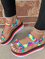 cheap -Women's Sandals Flat Heel Round Toe Casual Daily Walking Shoes PU Buckle Solid Colored Slogan Black / White Fuchsia Rainbow