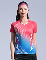 cheap -Women's Tennis Badminton Table Tennis Tee Tshirt Short Sleeve Breathable Quick Dry Moisture Wicking Sports Outdoor Autumn / Fall Spring Summer Color Gradient Red Blue Green / High Elasticity