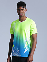 cheap -Men's Tennis Badminton Table Tennis Tee Tshirt Short Sleeve Breathable Quick Dry Moisture Wicking Sports Outdoor Autumn / Fall Spring Summer Color Gradient Blue Green / High Elasticity