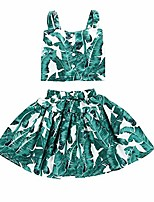 cheap -little kids girls summer dress clothing outfit fashionable leaf 2pc skirt sets (green, 5years)