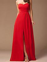 cheap -Sheath / Column Minimalist Elegant Wedding Guest Formal Evening Dress Sweetheart Neckline Sleeveless Floor Length Chiffon with Split 2021