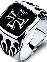 cheap -Stainless Steel Crusade Cross Biker Ring (Silver, Q)
