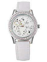 cheap -luxury women's mechanical hand wind skeleton rhinestone butterfly leather watch (white)