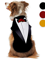 cheap -Dog Shirt / T-Shirt Tuxedo Graphic Optical Illusion 3D Print Classic Gentle Wedding Party Dog Clothes Puppy Clothes Dog Outfits Breathable Black Yellow Red Costume for Girl and Boy Dog Polyster S M L