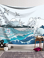cheap -Kanagawa Wave Ukiyo-E Wall Tapestry Art Decor Blanket Curtain Hanging Home Bedroom Living Room Decoration Japanese Painting Style Sea Ocean Wave Mountain Fuji Crane