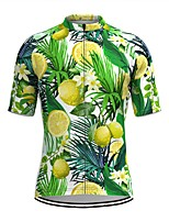 cheap -Men's Short Sleeve Cycling Jersey Green Floral Botanical Fruit Bike Top Mountain Bike MTB Road Bike Cycling Breathable Sports Clothing Apparel / Stretchy / Athletic