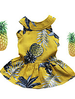 cheap -Dog Cat Dress Pineapple Fruit Sweet Style Adorable Casual / Daily Dog Clothes Puppy Clothes Dog Outfits Breathable White Yellow Costume for Girl and Boy Dog Cotton XS S M L XL