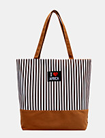 cheap -women striped large capacity casual tote shoulder bag shopping bag