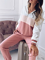 cheap -Women's 2 Piece Set Patchwork Hoodie Sport Athleisure Clothing Suit Long Sleeve Comfortable Everyday Use Casual Daily / Winter / 2pcs / pack