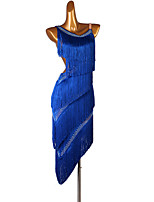 cheap -Latin Dance Dress Tassel Crystals / Rhinestones Women's Training Performance Sleeveless Natural Elastane