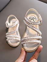 cheap -Girls' Sandals Flower Girl Shoes Children's Day Princess Shoes PU Lace up Little Kids(4-7ys) Big Kids(7years +) Daily Home Water Shoes Walking Shoes Rhinestone Pearl Pink Gold Silver Spring Summer