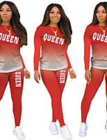 cheap -Women's Basic Tie Dye Letter Daily Two Piece Set T shirt Pant Print Tops