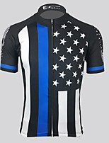cheap -Men's Short Sleeve Cycling Jersey Black National Flag Bike Top Mountain Bike MTB Road Bike Cycling Breathable Sports Clothing Apparel / Stretchy / Athletic
