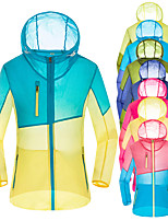 cheap -Men's Hoodie Jacket Hiking Skin Jacket Skin Coat Long Sleeve Sweatshirt Top Outdoor Lightweight Breathable Quick Dry Sweat-wicking Autumn / Fall Spring Color Gradient Women's pink and blue Female