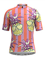 cheap -Men's Short Sleeve Cycling Jersey Pink Stripes Fruit Bike Top Mountain Bike MTB Road Bike Cycling Breathable Sports Clothing Apparel / Stretchy / Athletic