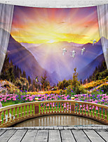 cheap -Window Landscape Wall Tapestry Art Decor Blanket Curtain Hanging Home Bedroom Living Room Decoration Balcony Flower Bird Mountain