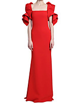 cheap -Sheath / Column Minimalist Elegant Wedding Guest Formal Evening Dress Boat Neck Short Sleeve Floor Length Stretch Fabric with Sleek 2021