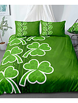 cheap -St.Patrick's Clover 3-Piece Duvet Cover Set Hotel Bedding Sets Comforter Cover with Soft Lightweight Microfiber, Include 1 Duvet Cover, 2 Pillowcases for Double/Queen/King(1 Pillowcase for Twin/Single)